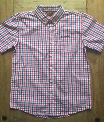 NEW - BEN SHERMAN - Boy's Check Shirt - Age 8 - 9 - Red / Blue - Gingham - S/S