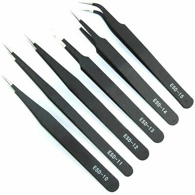 VETUS 6pcs Tweezer Set ESD 10 11 12 13 14 15 Soldering Electronics Flux Workshop