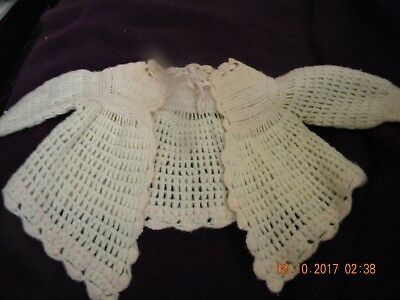 Vintage/antique Baby Girls Sweater Knit/crocheted By Hand - White W/pink Trim