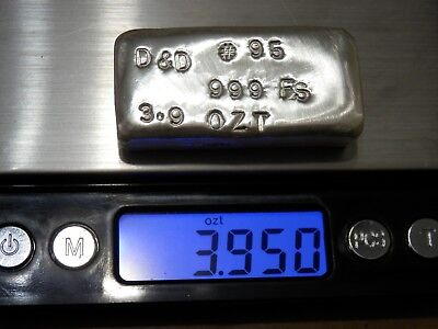3.9 Troy Ounce Hand Poured .999 Fine Silver Bar
