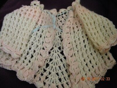 Vintage Hand Crocheted Baby Girl Sweater With Embroidered Edging Finish