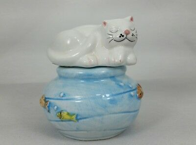 Vintage Cat and Fish Bowl Ceramic Salt and Pepper Shakers