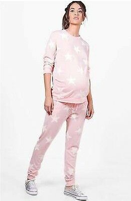 Brand New Maternity Pyjamas Blush/Pale Pink & White Stars Size 14