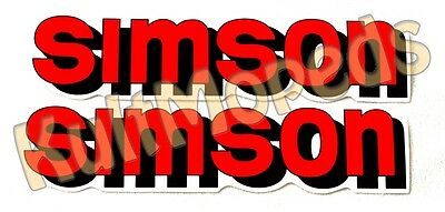 2 Sticker Pas for SIMSON S51 S50 S70 S53 Lettering Red Tank Adhesive Foil