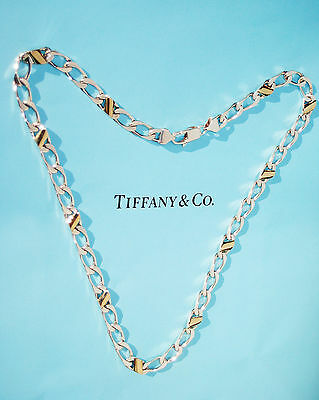 Tiffany & Co 18 Karat 18k Gold & Sterlingsilber Gliederhalskette