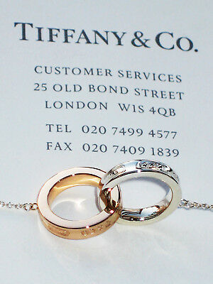 TIFFANY & Co 1837 18 CARATS 18K Or Rose Argent Petit emboîtés Cercles collier