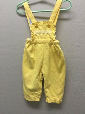 Vintage Carter's Baby Girl Cotton Overalls Yellow 1982 size 18 months
