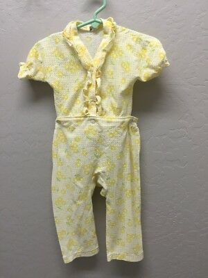 Carter's Vintage Baby Girl 2 Piece Pajamas Yellow floral 12 months 1980's