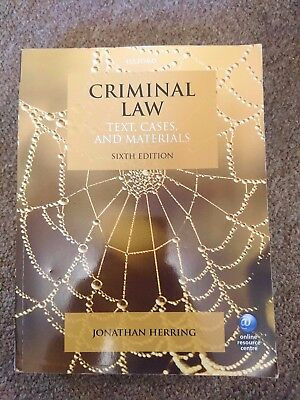 Criminal Law Sixth Edition by Jonathan Herring (Paperback, 2014)