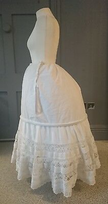 1870s Steel Hoop Bustle Petticoat With Lace And Whitework - Antique Victorian