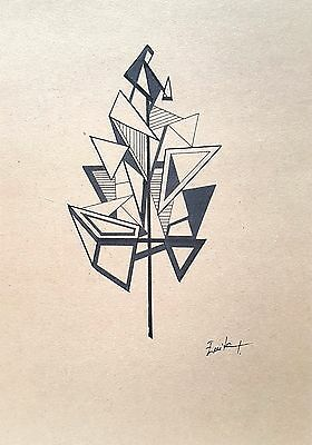 Original Drawing 'True Nature' A4 size, Signed, Pen and Ink, Origami, Shapes