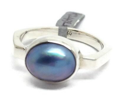 Blue Mabe pearl ring solid Sterling Silver, UK size R, New. UK Seller. Solitaire
