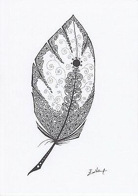Original Pen/Ink Drawing Feather Doodle Black and White, A4, Signed
