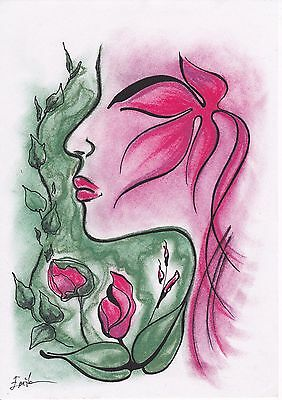 "Abstract ""Flower Fairy"" Pencil/Pen Drawing. Original, Size A4, Signed by Artist"