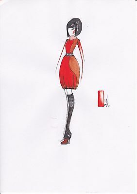 Watercolor/Pen Fashion Drawing. Original, Size A4, Signed by Artist