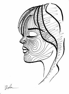 Black and White Line Woman Face Drawing. Original, Size A4, Signed by Artist