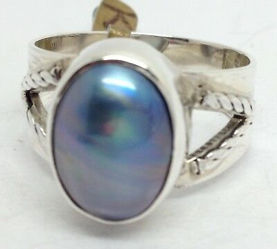 Blue Mabe pearl ring solid Sterling Silver, UK size S 1/2. UK Seller.