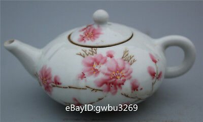 Collection China old painting peach blossom Porcelain wine Flagon Teapot Pumpkin