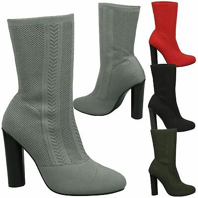 Pola Womens Mid High Block Heel Pull On Sock Ankle Boots Ladies Shoes Size New
