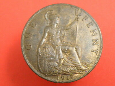 1917 - KING GEORGE V - ONE PENNY COIN - Good Detail and Some Original Colour