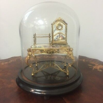 Antique Dome figurine Gold French Writing Desk with Clock and Table