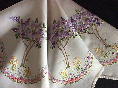 Exquisite Vintage Linen Hand Embroidered Tablecloth ~ Lilac Trees/spring Garden