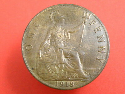 1918 - KING GEORGE V - ONE PENNY COIN - Good Detail and Some Original Colour