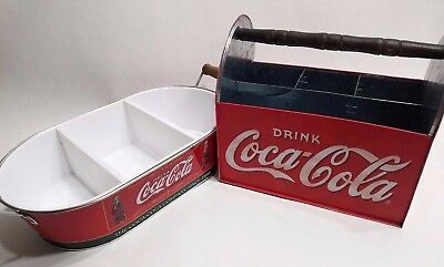 2pcs COCA COLA Tin Utensil  Napkin Bottle Carrier and Tray Caddy Divided
