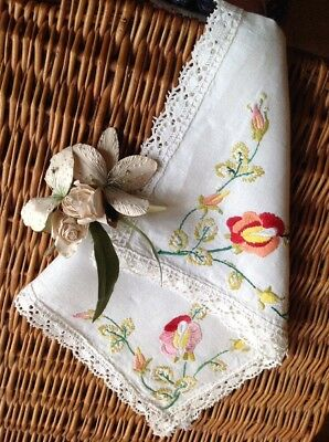 Stunning Vintage Linen Hand Embroidered Tray Cloth ~ Florals