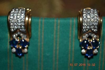 Pair of GORGEOUS Vintage Dress Clips Rhinestones, Gold Plated Blue Cabachon
