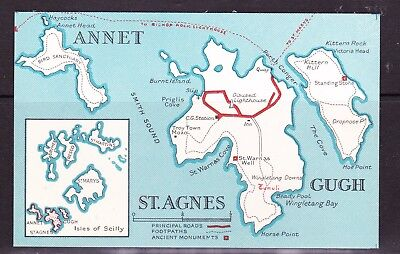 GB - Scilly Isles - map postcards (St. Agnes / Gugh Island + Scilly) + sketch