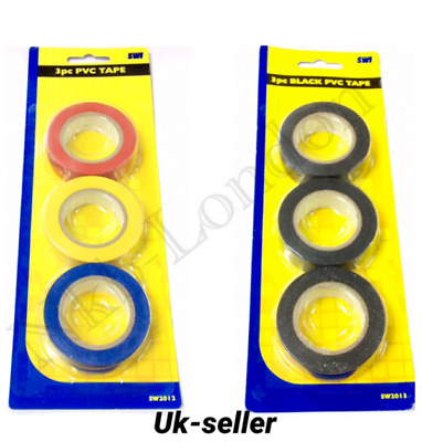 New 3pc PVC Multipurpose Tape Insulation Strong Tape Cable Garage Electrical UK