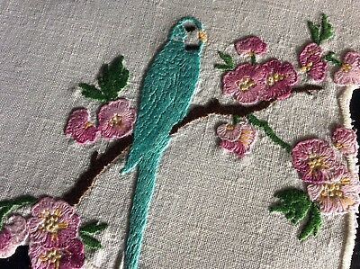 Beautiful Vintage Linen Hand Embroidered Tray Cloth ~ Parakeet/pink Blossoms