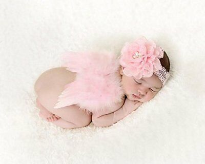 Newborn Baby Feather Angel Wings, Flower Halo Set Pink