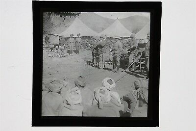 British & Indian Army Soldiers In India - Glass Lantern Slide - Pith Helmets