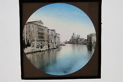 Buildings On Grand Canal Venice Italy - Hand Tinted Glass Lantern Slide