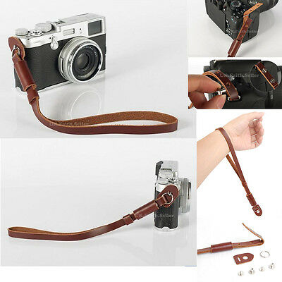 Genuine Leather Camcorder Hand Wrist Strap For Canon Sony JVC Panasonic Samsung