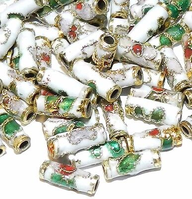 CL133L White 9mm Round Tube Enamel Overlay on Metal Cloisonne Beads 25pc
