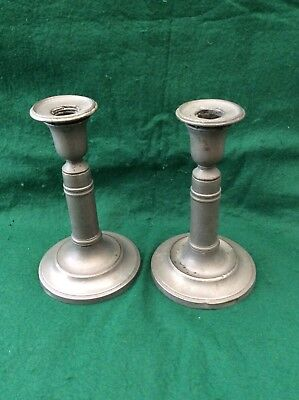 Antique pair of pewter candlesticks  R.C. & Co.  (7.5 inches)