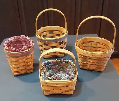 Longaberger Baskets Lot of 4 Small Pieces Plus 2 Fabric Liners Resolution Basket