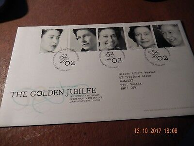 First Day Cover - Golden Jubilee 2002 - with insert - 5 stamps of QEII