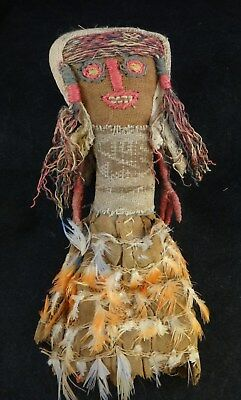 """Ancient Nazca Peru Woven Doll with Feathers. c. 200-800 A.D. Approx 9"""" tall"""