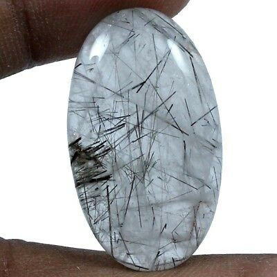 28.40 cts 100% Natural Rutilated Quartz Loose Gemstone Beautiful Oval Cabochon