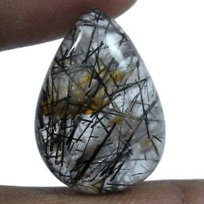 20.10 ct Natural Designer Needled Rutilated Quartz Loose Gemstone Pears Cabochon