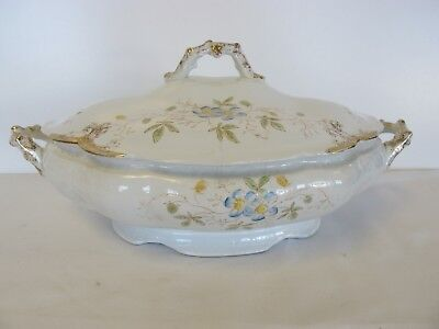 ANTIQUE ALFRED MEAKIN ROYAL IRONSTONE CASSEROLE+COVER BLUE VIOLETS signed