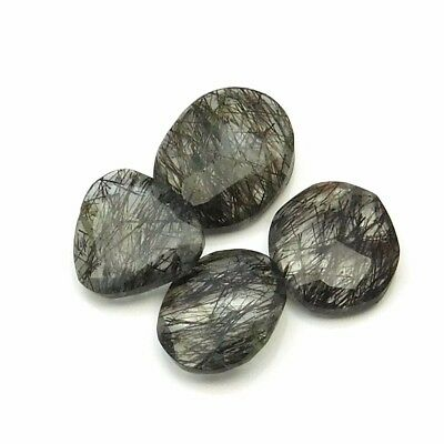 16.25 cts Natural Black Rutile Fancy Shape Both Side Faceted Gemstone 4 pcs lot