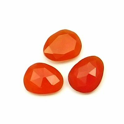 12.50 cts Natural Carnelian Fancy Shape Both Side Faceted Gemstone 3 pcs lot