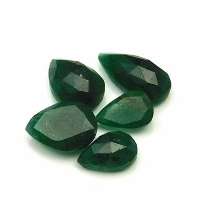 23.25 cts Natural Green Aventurine Fancy Both Side Faceted Gemstone 5 pcs lot