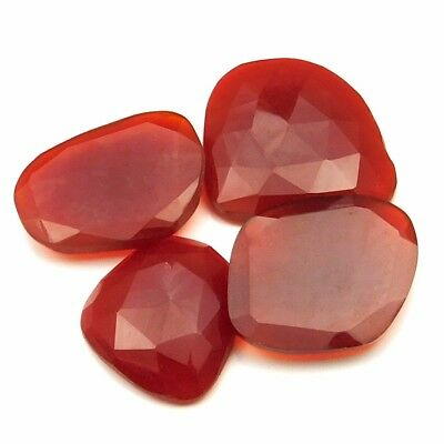 56.75 cts Natural Carnelian Fancy Shape Both Side Faceted Gemstone 4 pcs lot