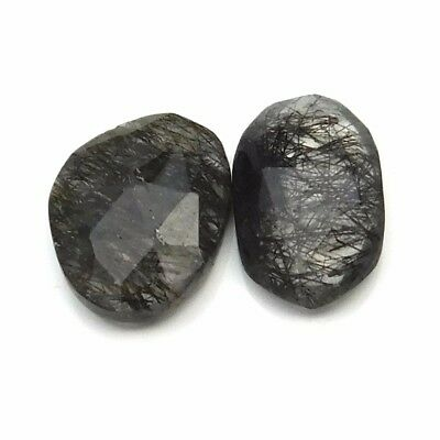 16.20 cts Natural Black Rutile Fancy Shape Both Side Faceted Gemstone 2 pcs lot